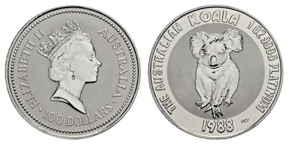 Австралия 100 долларов 1988 платина