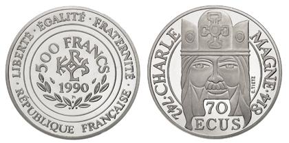 Франция 500 франков - 70 ЭКЮ 1990 платина