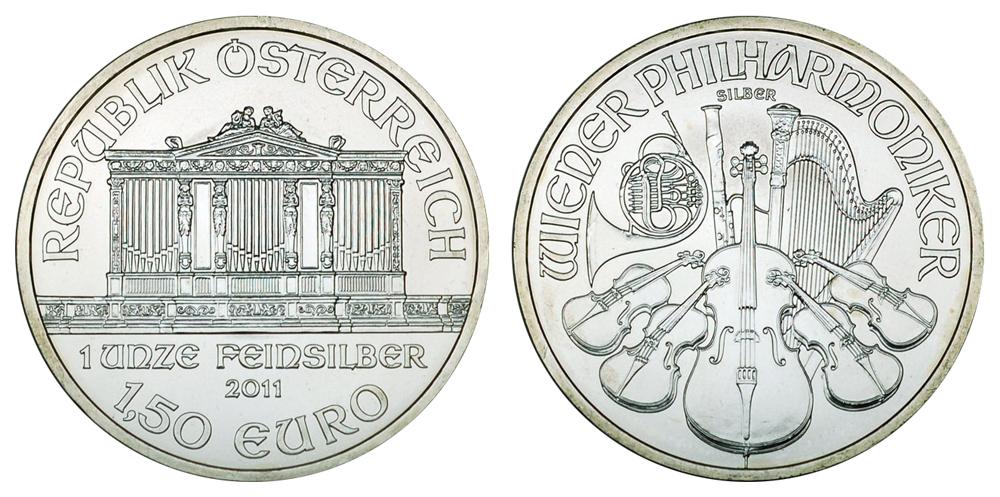 Австрия 1.5 евро с 2008 г. Венская филармония (1 унция серебра)