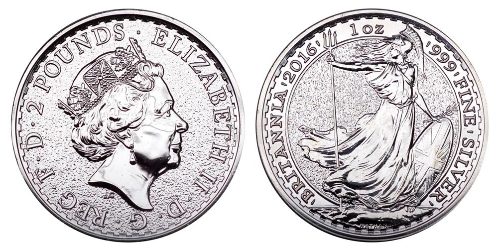 Великобритания 2 фунта с 1997 г. Британия (1 унция серебра)