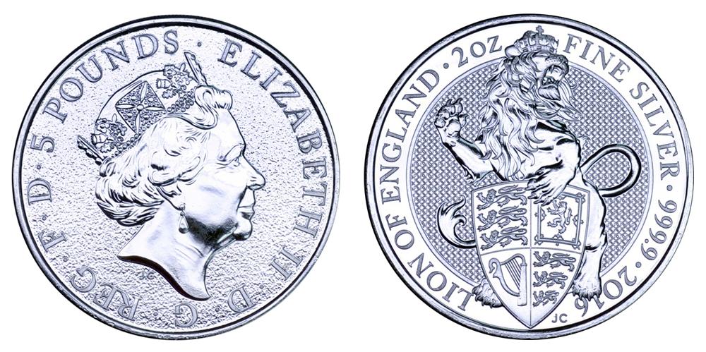 Великобритания 5 фунтов с 2016 Королевские животные (2 унции серебра)