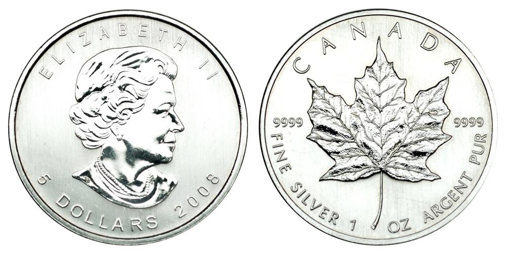 Канада 5 долларов с 1988 Кленовый лист (1 унция серебра)