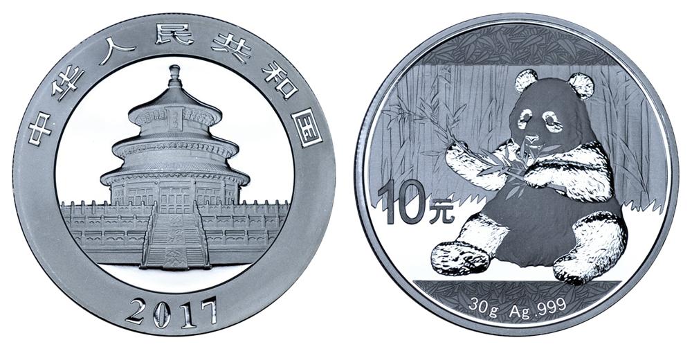 Китай 10 юаней с 2016 г Панда (30 г серебра)