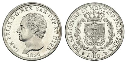 Сардиния 80 лир 1826 платина рестрайк