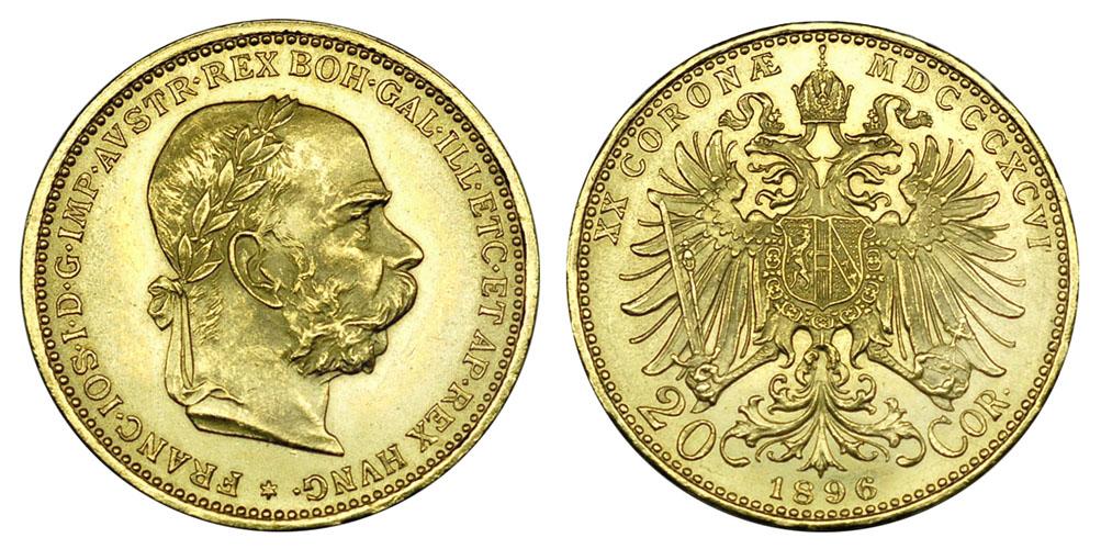 Австрия, Венгрия 20 корон 1892-1924 (вес 6.78 г, 900 проба, 0.1960 унции)