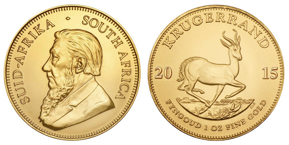 ЮАР Крюгеррэнд с 1967 г. (вес 33.93 г, 917 проба, 1 унция)