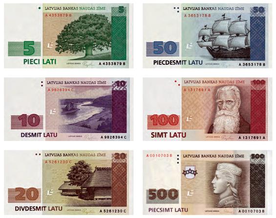 Латвийские латы банкноты