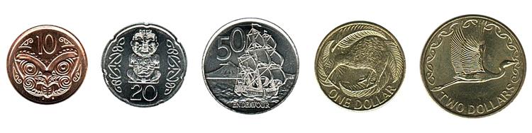 Новозеландские доллары монеты