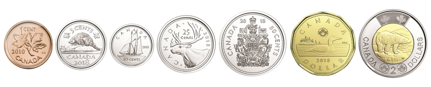 Канадские доллары монеты